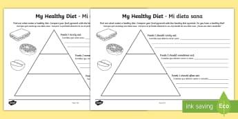 Healthy Eating Food Pyramid Writing Activity Sheet English/Spanish - healthy eating, healthy eating food pyramid, healthy eating writing frame, food pyramid, food group