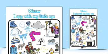 Winter Themed I Spy With My Little Eye Activity - I spy, winter