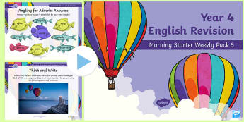 Year 4 English Revision Morning Starter Weekly PowerPoint Pack 5 - Spag, Reading, Writing, Sentences, Filler
