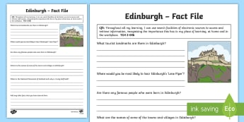 Edinburgh Fact File - Scottish Cities, Scotland, city, TCH, ICT, research, writing ,Scottish, People, place and environmen
