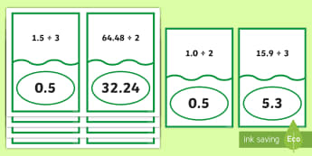 Decimal Number Division Matching Cards - ACMNA129, Divide Decimal Numbers, Decimal Numbers, Decimal Number Division, Divide Decimals By Whole