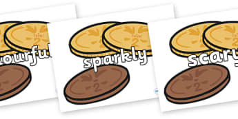Wow Words on Chocolate Coins - Wow words, adjectives, VCOP, describing, Wow, display, poster, wow display, tasty, scary, ugly, beautiful, colourful sharp, bouncy