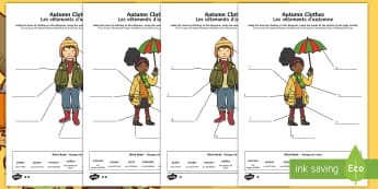 Autumn Clothes Labelling Differentiated Activity Sheets English/French - Autumn, seasons, september, october, topics, ks1, harvest, clothes, clothing, wear, wearing
