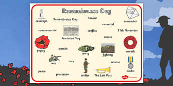 Remembrance Day Word Mat - remembrance day, word mat, word, mat