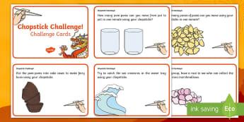Chopstick Challenge Cards - chopsticks, fine motor skills, challenge, Chinese, Chinese New Year,  cleversticks