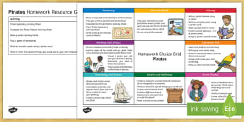 Pirates CfE Homework Grid - pirates, homework, homework choice, homework grid, cross curricular,Scottish