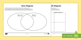 Carroll and Venn Diagram Worksheets - venn diagram worksheet, carroll diagram worksheet, diagram worksheets, sorting numbers, number sorting activities