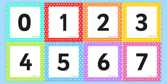 Square Number Cards - ESL number Flashcards