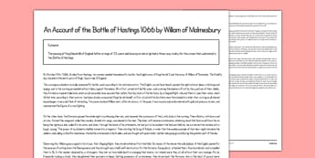 An Account of The Battle of Hastings 1066 by William of Malmesbury Print Out - an account, battle of hastings, 1066, print out
