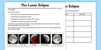 Lunar Eclipse Activity Sheet Pack - lunar eclipse, moon, sun, shadow, activity, worksheet