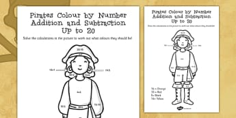 Pirates Colour by Number Addition and Subtraction Up to 20 - 20