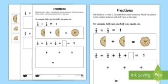 Fractions Activity Sheet - NI, KS1, Numeracy, cut and stick, matching, practical maths, home learning, Worksheet