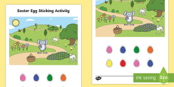 Easter Egg Sticking Activity - EYFS, Early Years, KS1, Easter, Easter eggs, Easter egg hunt, Easter bunny, spring, prepositions, po