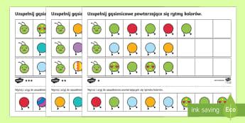 Powtarzające się rytmy kolorów Gąsienica zróżnicowany poziom - rytm, sekwencje, sekwencja, kolor, matematyka, ciąg, ciągi,Polish