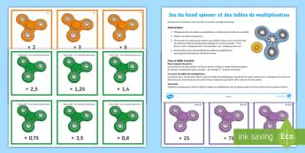Jeu de défis du hand spinner et des tables de multiplication - KS2, cycle 3, mathématiques, maths, tables de multiplication, multiplications, hand spinner, jeu, g