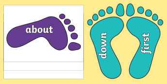 KS1 Keywords on Footprints - KS1, CLL, Communication language and literacy, Display, Key words, high frequency words, foundation stage literacy, DfES Letters and Sounds, Letters and Sounds, spelling