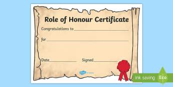 Role of Honour Editable Certificate - Editable award scrolls, scroll, reward, award, certificate, medal, rewards, school reward, cirtifica