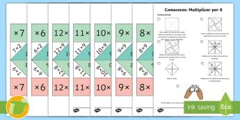 Pack de recursos: Comecocos de multiplicación - juego, mates, matemáticas, por, x, multiplicación
