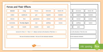 Edexcel Physics Forces and their Effects Word Mat - Word Mat, edexcel, gcse, physics, force, forces, newton, gear, gears, lever, levers, moment, moments