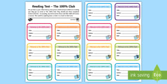 100% Reading Club Mini-Certificates - Accelerated Reader, AR, ZPD, Reading, Fiction, Non Fiction, Reading Comprehension, 100% club,,Scotti