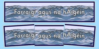 Irish Seas and Oceans Banner Gaeilge -  EAL, translated, Ireland, geography