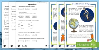 KS1 Around the World in 80 Days Differentiated Reading Comprehension Activity - The World Challenge, 80, days, weeks, months, world, cycle, cycling, bike, bicycle, personal goal, s