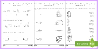 Rise and Shine Phonics Short 'i' Morning Activity Sheets - short vowels, short i, morning work, phonics, vowels, worksheets