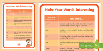 Make Your Words Interesting A4 Display Poster - Classroom Management and Organization, writing, words, synonyms, language, communication.