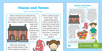 EYFS Houses and Homes Home Learning Challenges Nursery FS1 - EYFS Houses and Homes, my environment, homework, home learning, parents, home links, carers, home ac