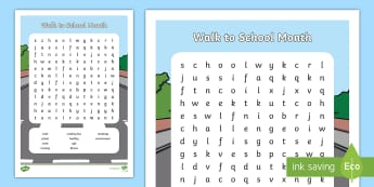 Walk to School Month Word Search - road safety, keeping safe, crossing the Road, Exercise, EYFS, KS1