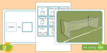Juego: Las preposiciones - Fútbol - preposiciones, lengua, lugar, frases, básicas, deporte, deportes, juego,,Spanish