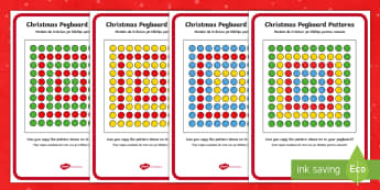 Christmas Peg Board Pattern Cards English/Romanian - Puzzle, Activity, Activities, patterns, Christmas,  EAL