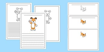 Dog Themed Writing Frames to Support Teaching on The Blue Balloon - kipper, kipper the dog, kippers birthday, writing frames