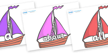 100 High Frequency Words on Sailing Boats to Support Teaching on Where the Wild Things Are - High frequency words, hfw, DfES Letters and Sounds, Letters and Sounds, display words