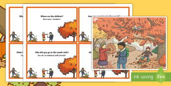 Autumn Woods Scene and Question Cards English/Italian - Autumn Woods Scene and Question Cards - autumn, woods, scene, question, cards, autmn, EAL