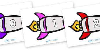 Numbers 0-100 on Rockets (Multicolour) - 0-100, foundation stage numeracy, Number recognition, Number flashcards, counting, number frieze, Display numbers, number posters