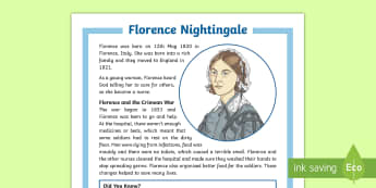 KS2 Florence Nightingale Differentiated Fact File - KS2 Florence Nightingale's Birthday (12.5.17), KS2 reading, ks2 reading, ks2 history, KS2 history,