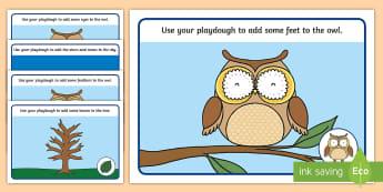 Owl-Themed Playdough Mats - olw babies, owlets, Martin Waddell, wildlife, woodland, forests, birds, animals, fine motor skills,