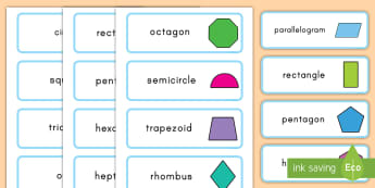 2D Shape Word Cards - flashcards, word cards, geometry, math, 2D, shapes