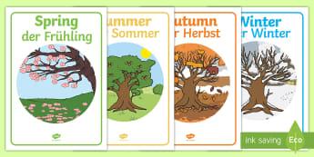 Four Seasons Display Posters English/German - Four Seasons Display Posters - Seasons, season, autumn, winter, spring, summer, fall, seasons activi