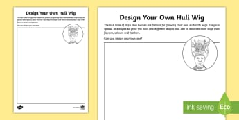 Design Your Own Huli Wig Activity Sheet - worksheet, rainforest, tribe, design, hair, amazon, pygmy, indigenous