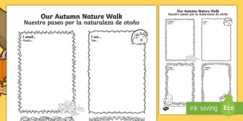 Our Autumn Nature Walk Writing Frames English/Spanish - Our Autumn Nature Walk Writing Frame - autumn, nature, walk, autmn, autunm, atumn, aurum, aurumn, au