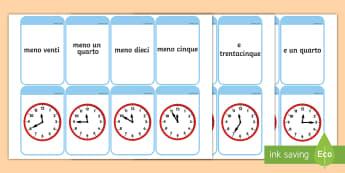 Flashcard per leggere l'ora Attività - leggere, l'ora, gioco, flashcards, orologio, analogico, attivita, italiano, italian, materiale, sco