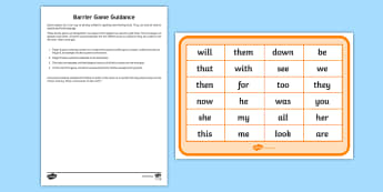 Phase 3 High Frequency Words Counters Barrier Game Activity Sheet, worksheet