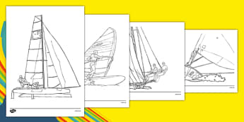 Rio 2016 Olympics Sailing Colouring Sheets - Sailing, Olympics, Olympic Games, sports, Olympic, London, 2012, colouring, fine motor skills, poster, worksheet, vines, A4, display, activity, Olympic torch, events, flag, countries, medal, Olympic Rings