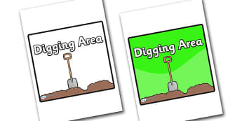 Digging Area Sign - sign, display sign, area display sign, area sign, area, classroom areas, school areas, classroom area signs, topic signs, topic area signs