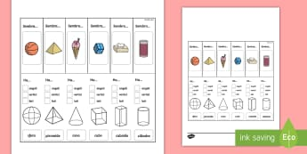 Le Proprietà delle Forme 3D Supporto Visivo Attività - figure, 3d, geometri, supoporto, visivo, geometriche, esercizio, italiano, italian, materiale, scola
