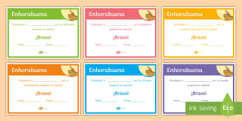 End of Year Progress Award Certificates Spanish - Diploma, award, prize, end, term, reward, spanish, ks3