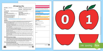 EYFS Munching Apples Counting Activity Adult Input Plan and Resource Pack - Mathematics, Number, counting, Adult Input Planning, EYFS, numerals, quantity, match, caterpillars,