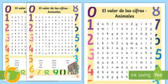 Sopa de letras: El valor de las cifras - Animales - Valor Posicional, Valor De Posición, Descomposición De Números, Números Naturales, Sistema De Nu